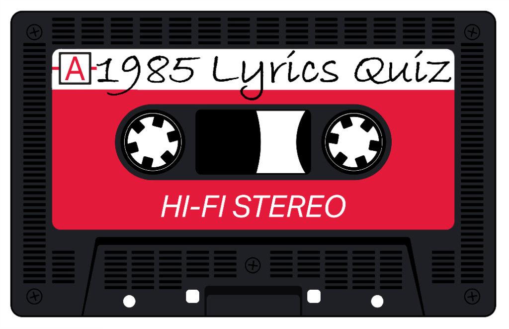 1985 Song Lyrics Logo on 1980s Cassette Tape