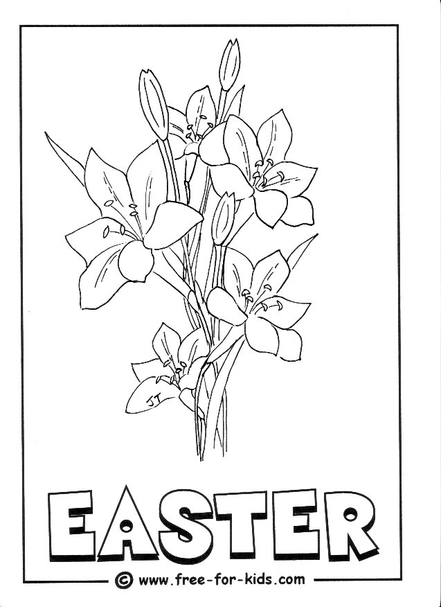 Preview of Easter Lillies Colouring Page