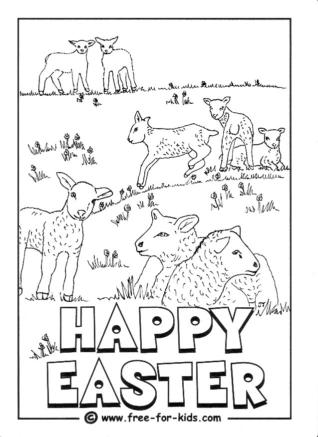 Preview of Printable Easter Lamb Colouring Page