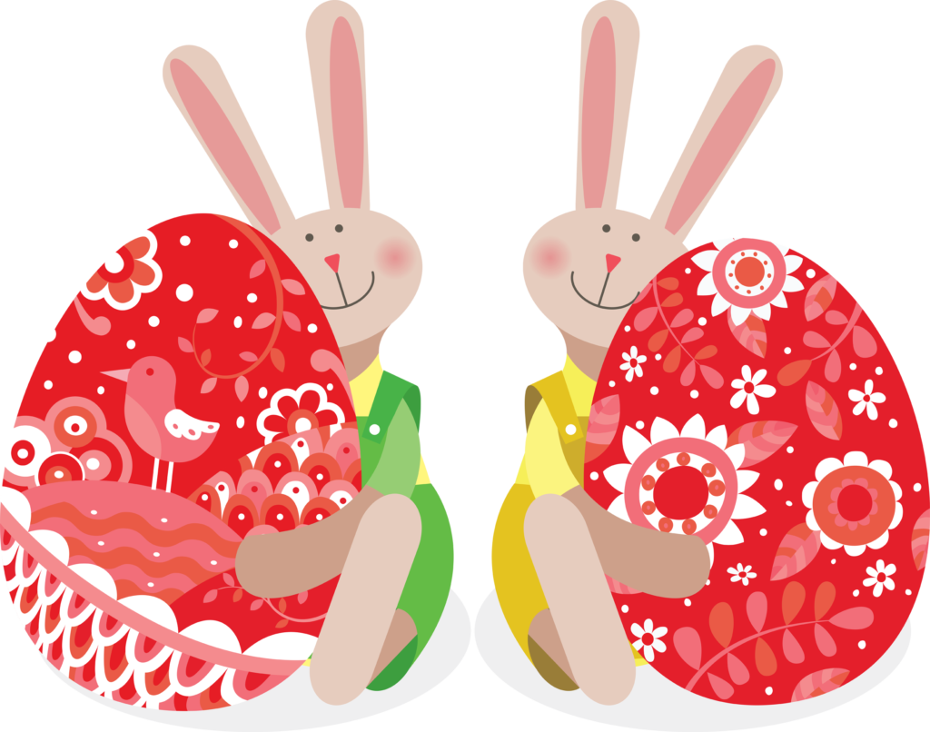 Two Easter Bunnies Holding Easter Eggs