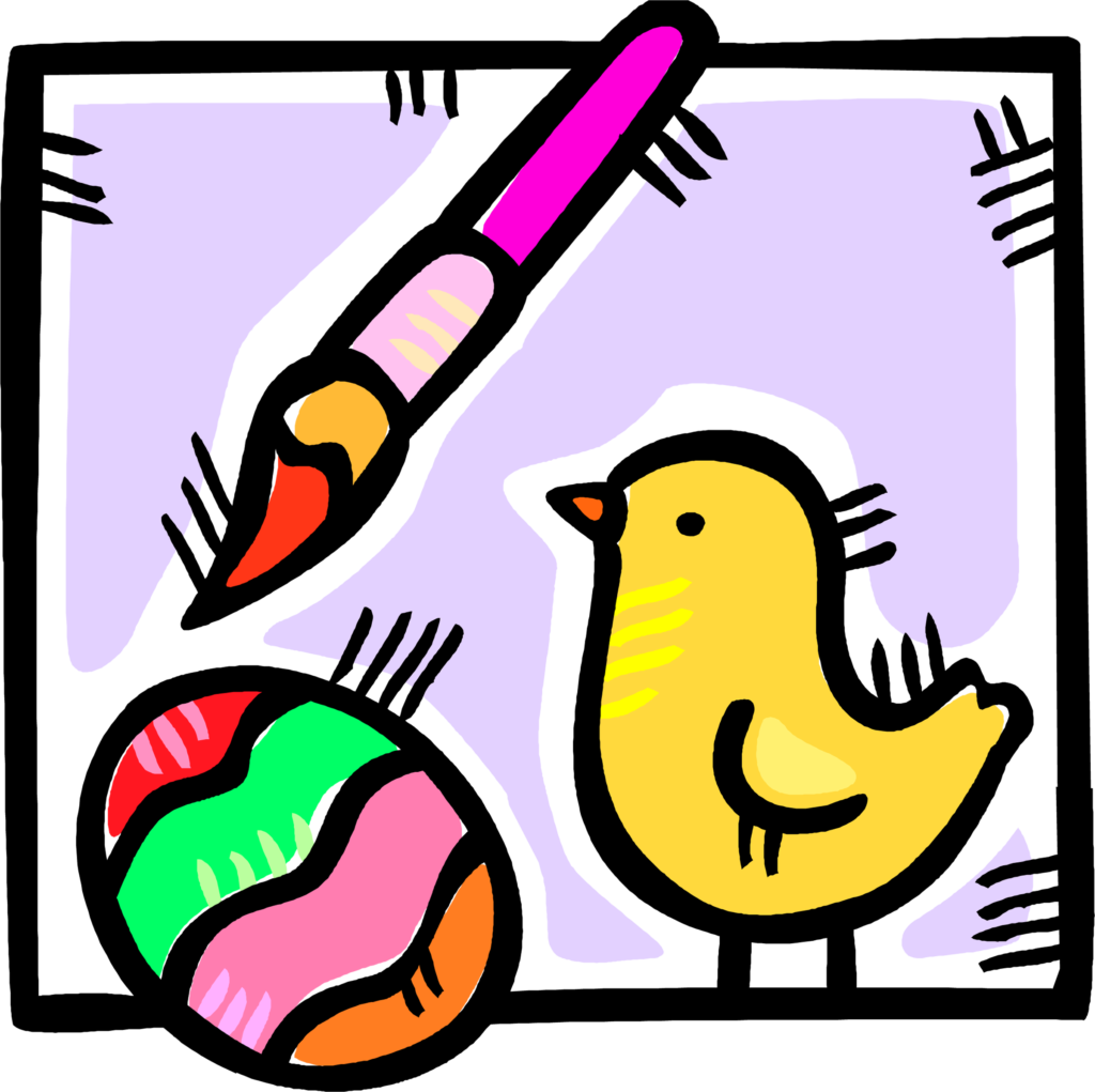 Easter chick with egg and paint brush