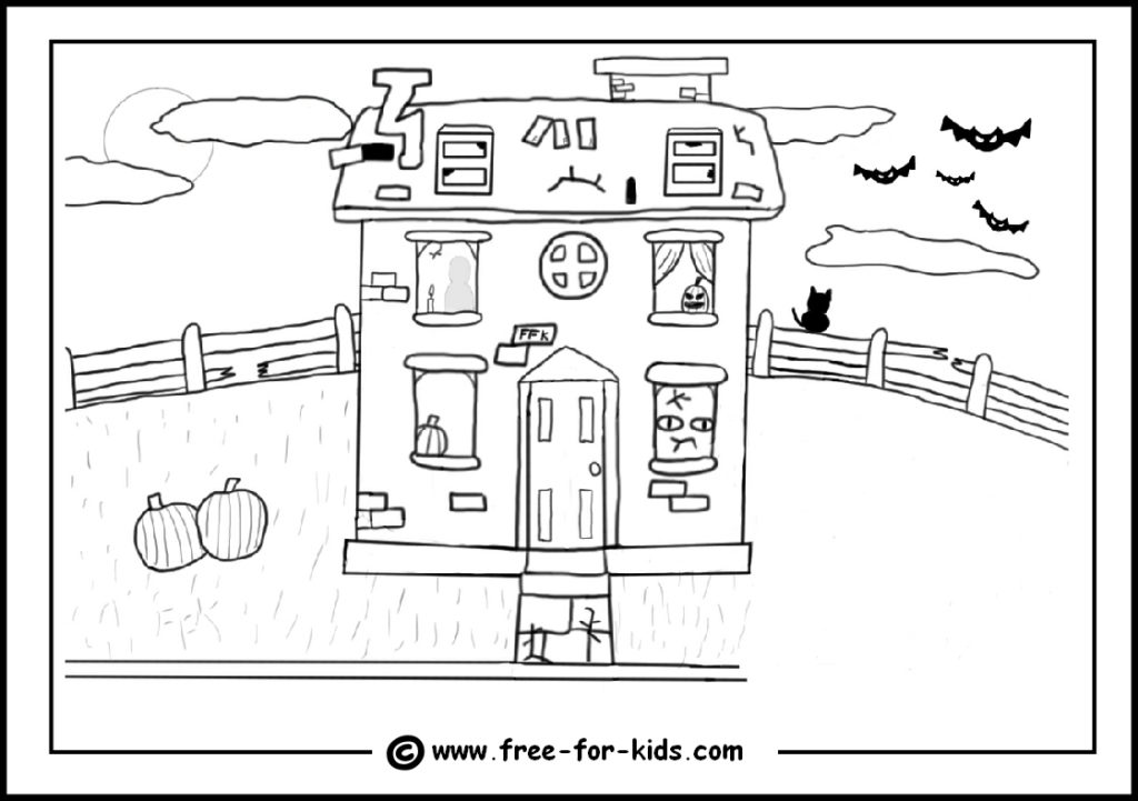 preview of printable halloween colouring page of haunted house