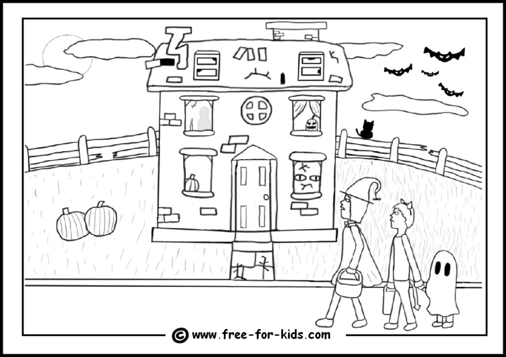 preview of printable haunted house colouring sheet