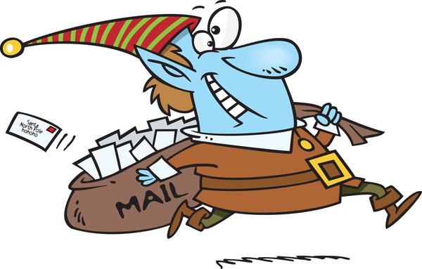 elf delivering free letter to santa