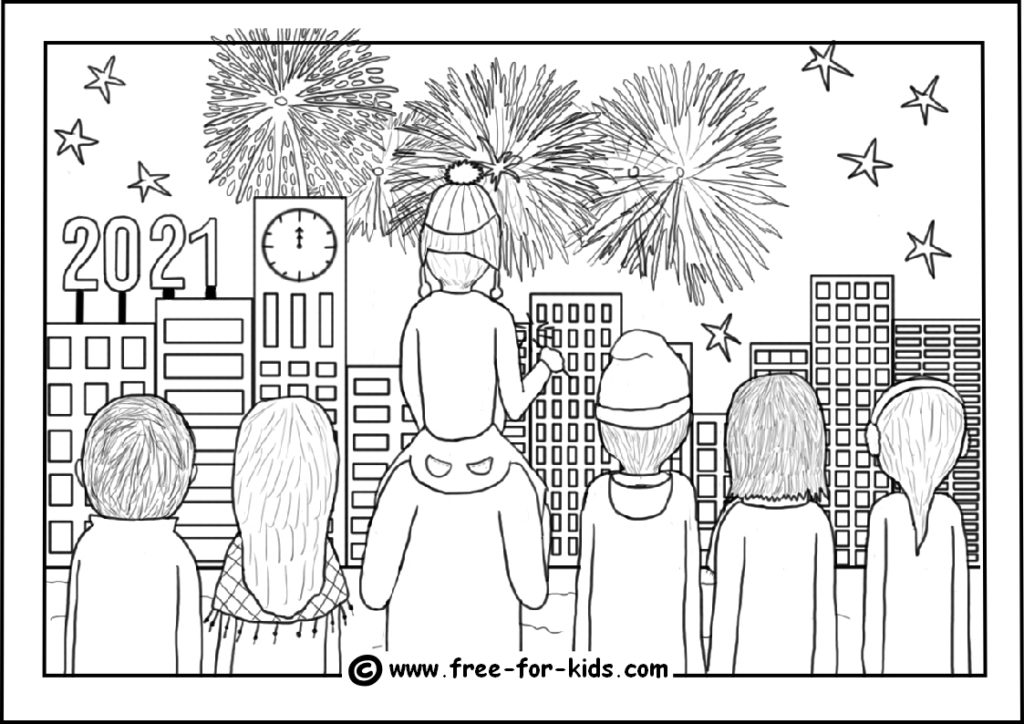 preview of colouring sheet of crowd watching new year fireworks
