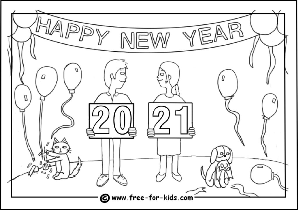 preview of colouring page of kids new year party