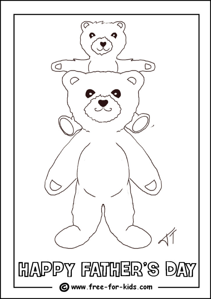 Preview of Fathers Day Colouring Page of Father Bear and Baby Bear