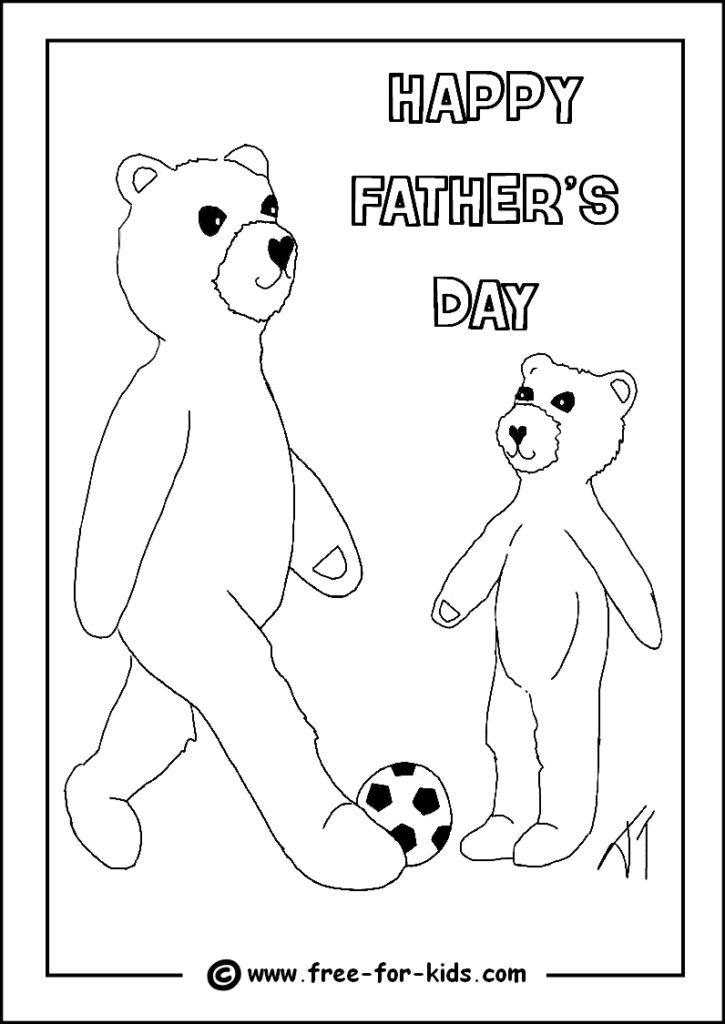 Preview of Fathers Day Colouring Page of Bear Playing Football with Father