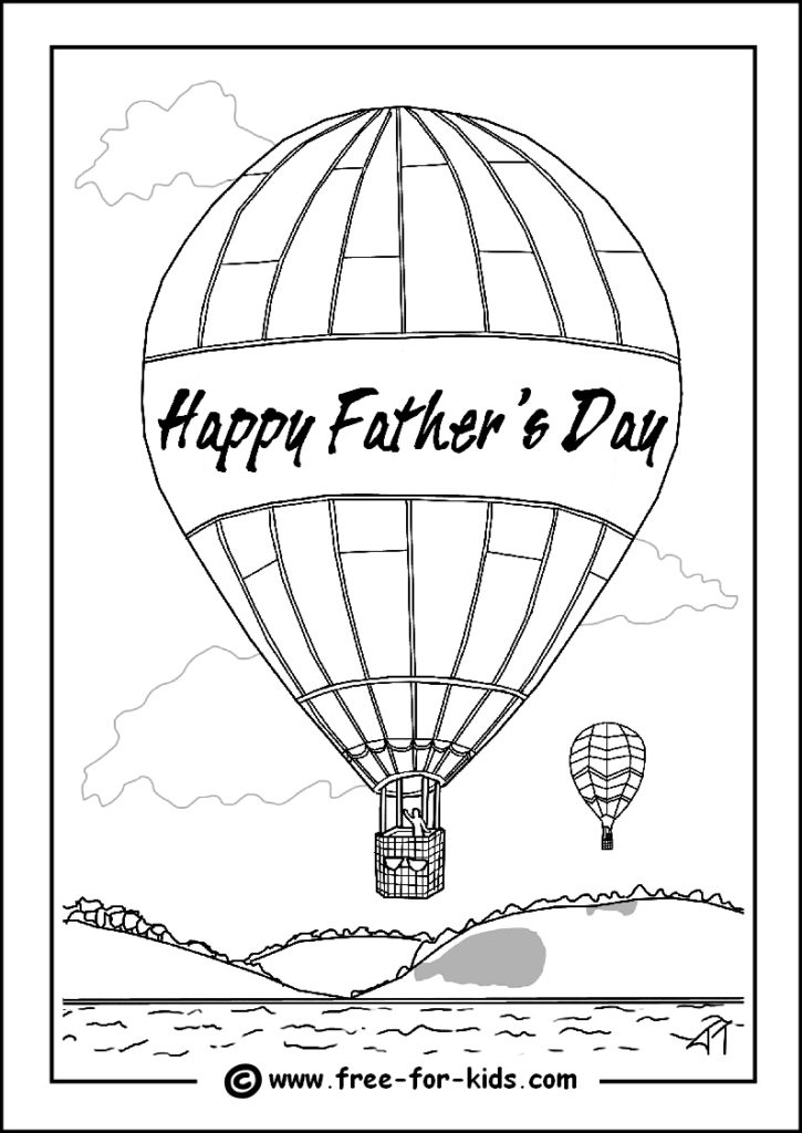 Preview of Fathers Day Colouring Page of Hot Air Balloon