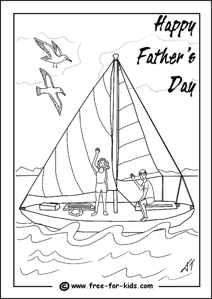 Preview of Fathers Day Colouring Page of Children on Yacht