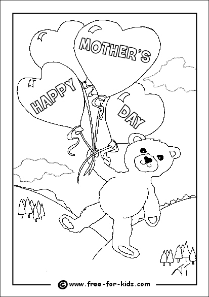 Preview of Mothers Day Colouring Page of Bear with Balloons