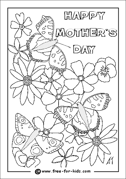 Preview of Mothers Day Colouring Page of Butterflies and Flowers