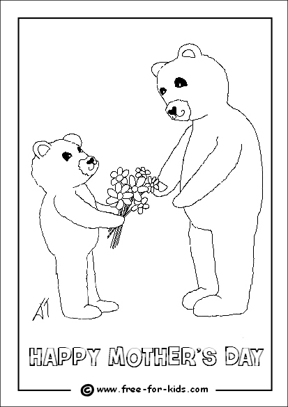 Preview of Mothers Day Colouring Page of Bear Giving Flowers