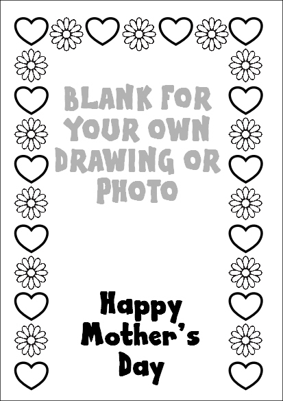 Preview of Blank Mothers Day Colouring Page