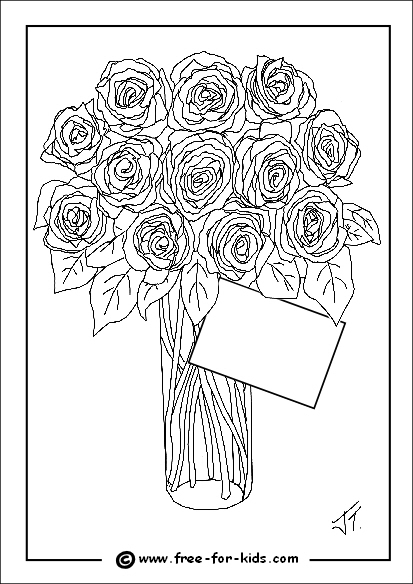 Preview of Mothers Day Colouring Page of Roses with Message