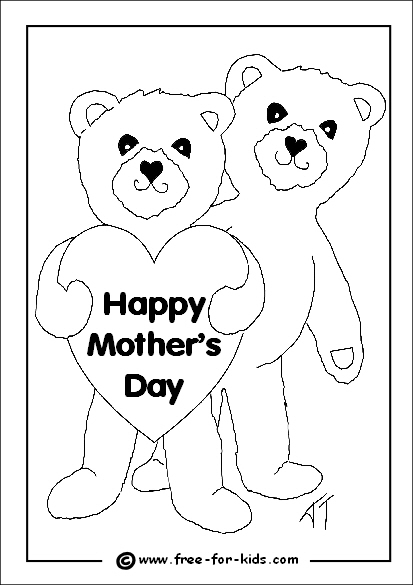Preview of Mothers Day Colouring Page of Bears with Heart