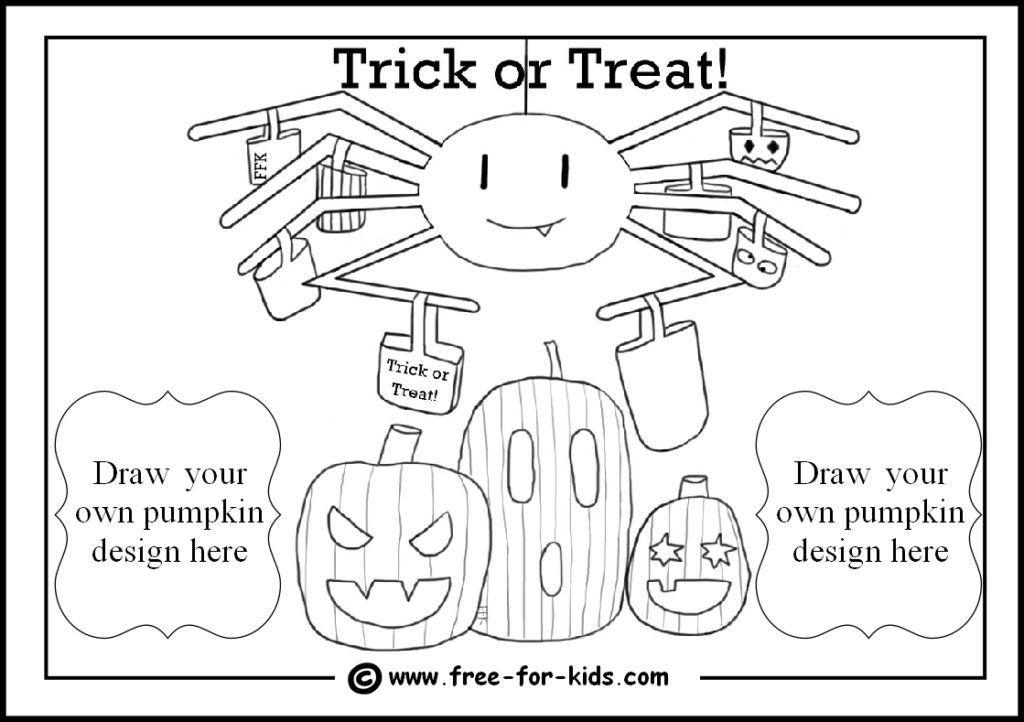 preview of spider and pumpkin halloween colouring page