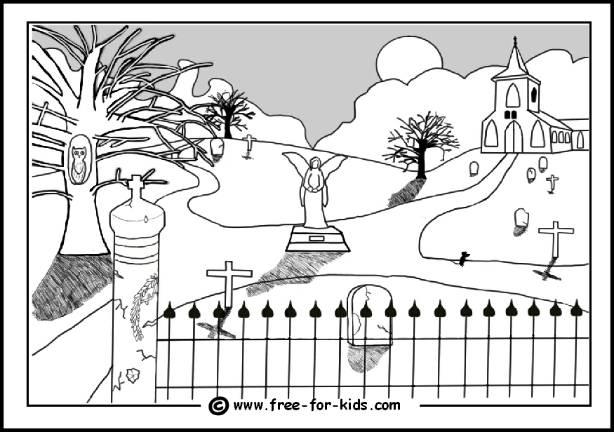 preview of spooky halloween graveyard colouring sheet