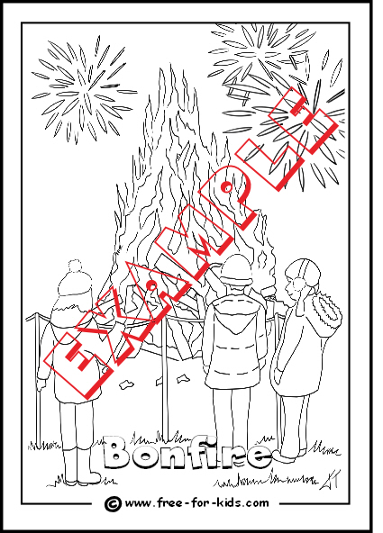 Preview of Children watching Bonfire Colouring Page