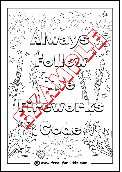Preview of Fireworks Code Colouring Page