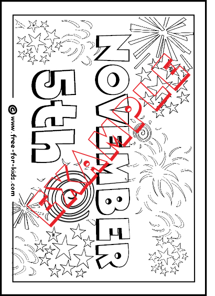 Preview of November 5th Colouring Page