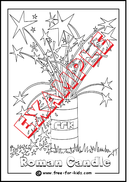 Preview of Roman Candle Colouring Page