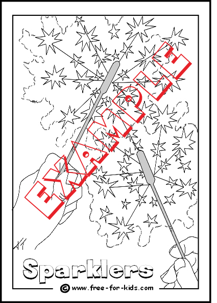 Preview of Sparklers Colouring Page