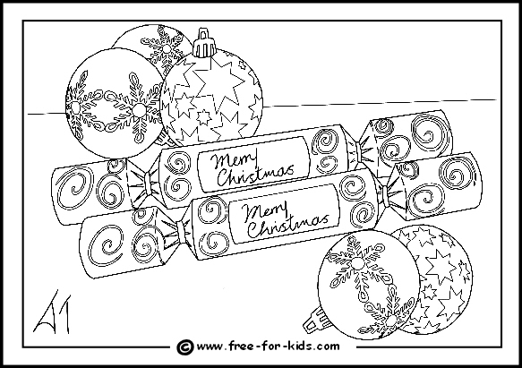 preview of colouring page of christmas crackers and baubels