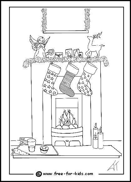 preview of colouring page of xmas stockings hanging on a fireplace