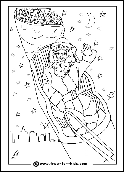 preview of colouring page of santa in his sleigh