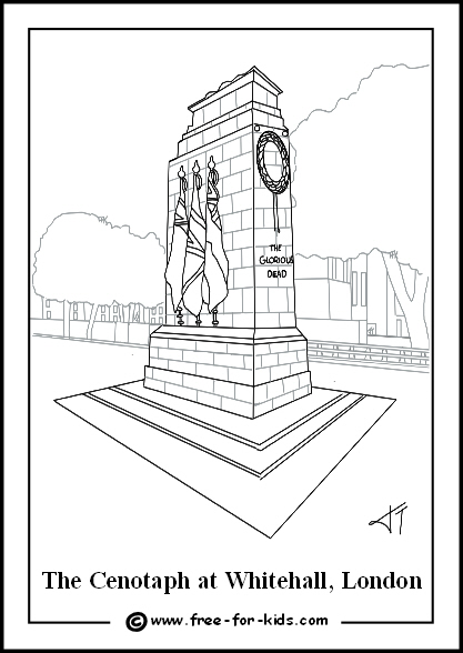 Preview of Colouring Page of London Cenotaph on Remembrance Day