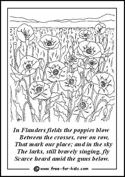 Preview of Colouring Page of Flanders Fields Poppies