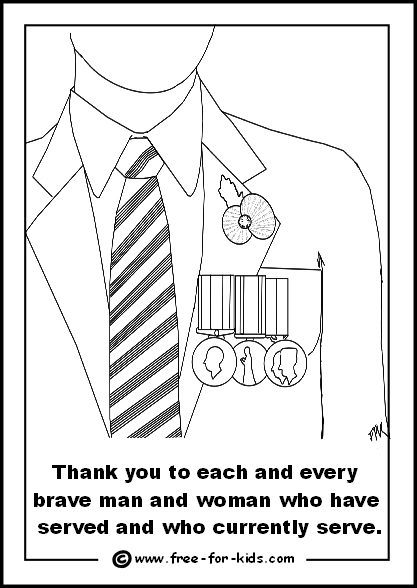 Preview of Colouring Page of Person with War Medals