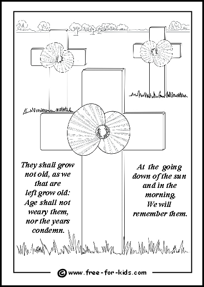 Preview of Colouring Page of Poppies and Crosses