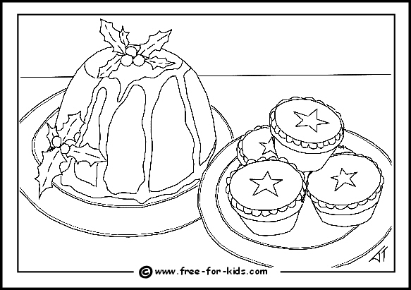 preview of colouring page of mince pies and christmas pudding