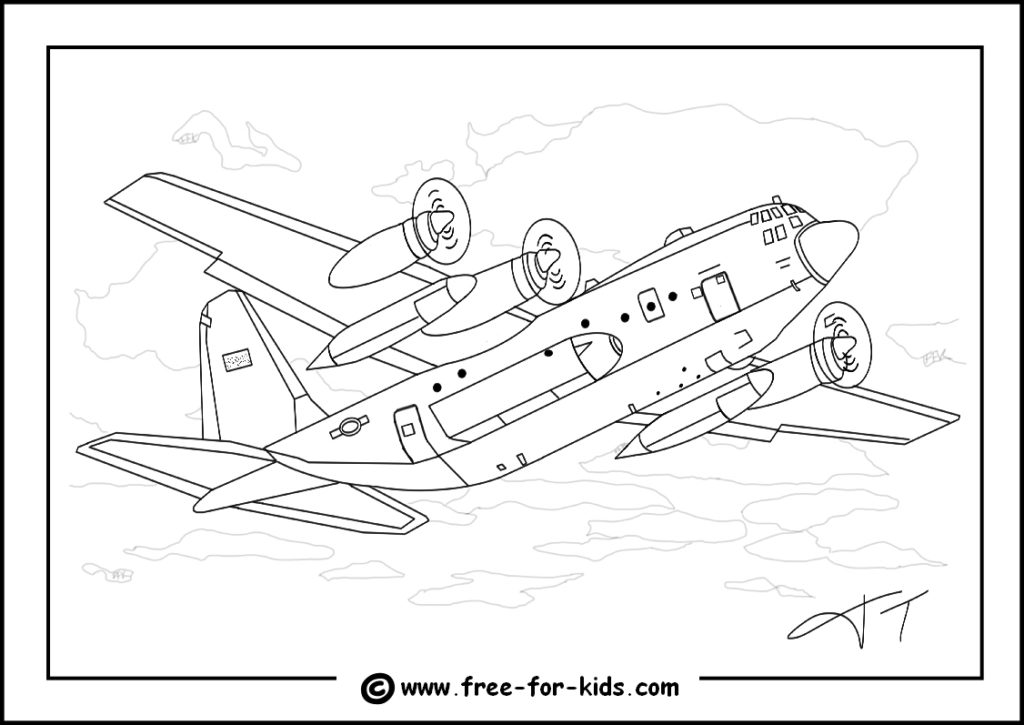 Preview of C130 Hercules Colouring Page