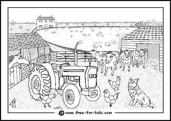 Preview of Busy Farm Yard Colouring Page