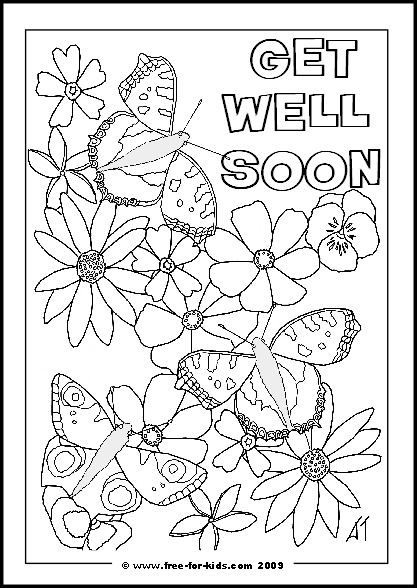 Preview of Printable Get Well Soon Message Colouring Sheet with Butterflies