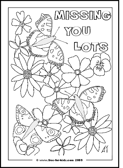 Preview of Printable Get Well Soon Butterflies Colouring Sheet with Missing You Lots Message