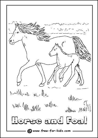 Preview of Horse and Foal Colouring Sheet