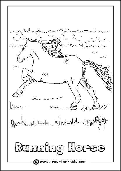 Preview of Running Horse Colouring Sheet