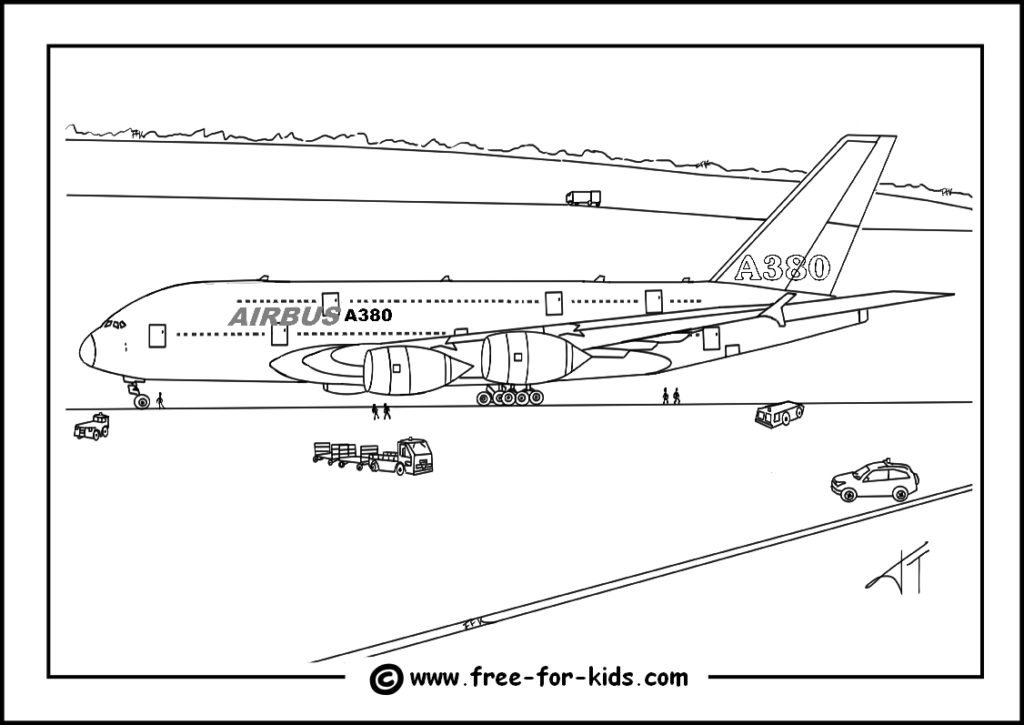 Preview of Airbus A380 Colouring Page