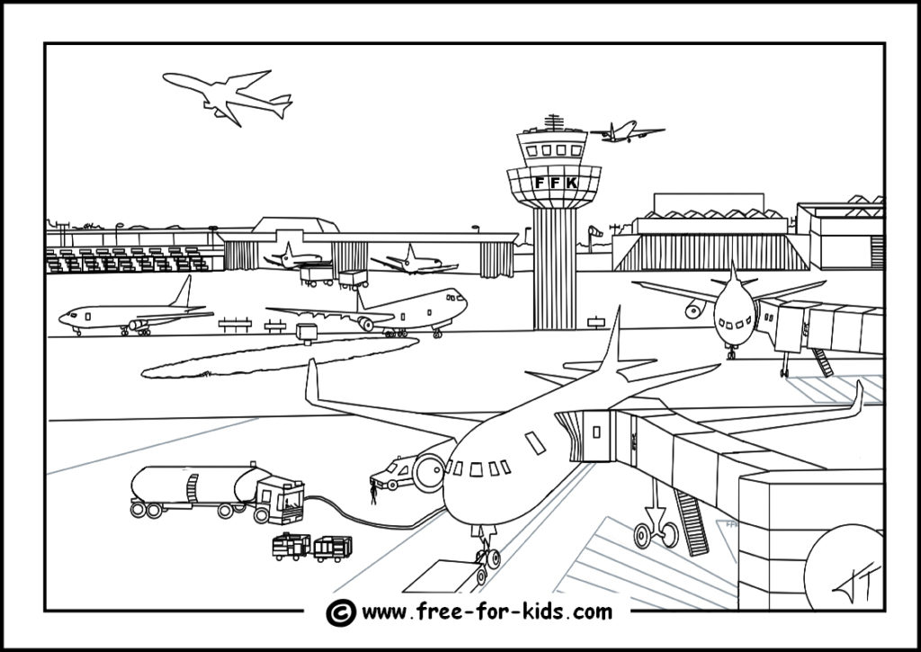 Preview of Airport Colouring Page