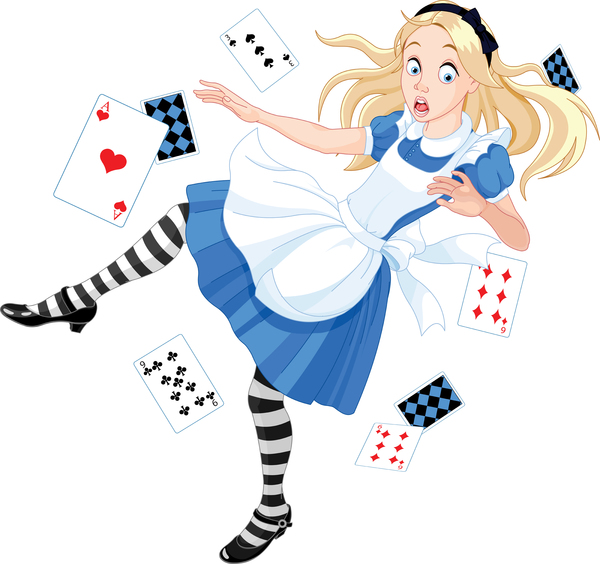 image of alice in wonderland with playing cards
