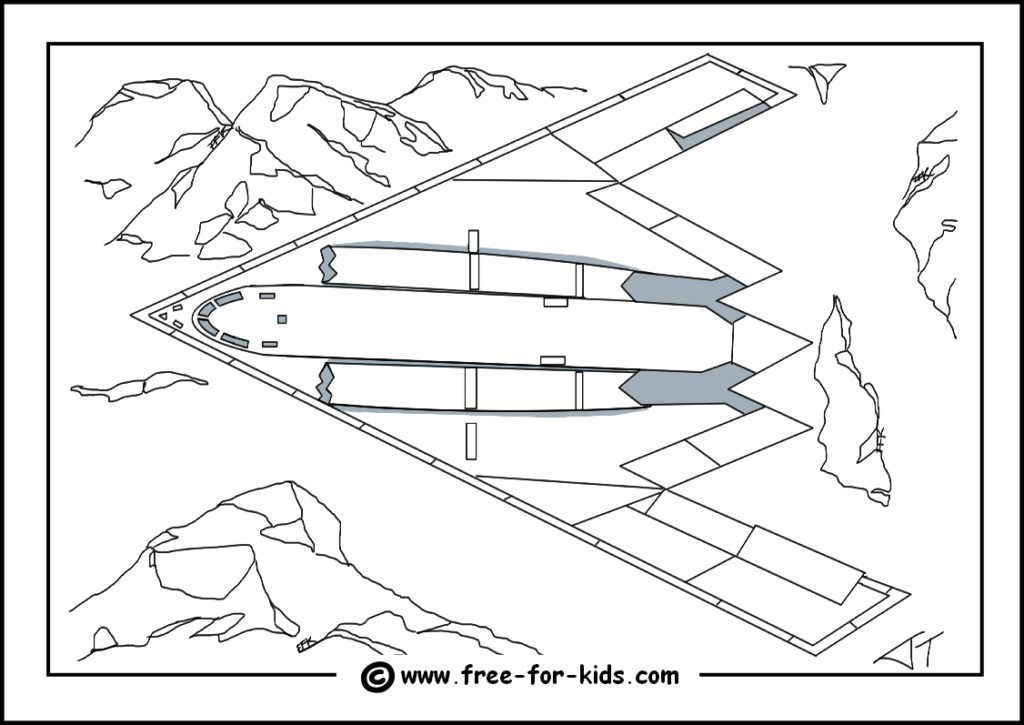 Preview of B2 Stealth Bomber Colouring Page