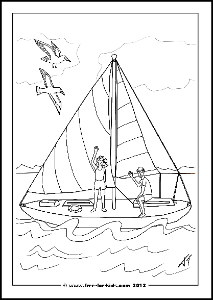Preview of Printable Get Well Soon Yacht Colouring Sheet