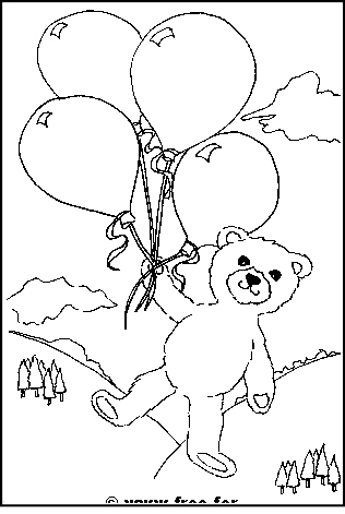 Preview of Printable Get Well Soon Teddy with Balloons Colouring Sheet