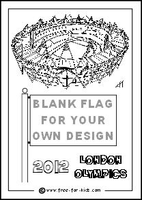 Preview of 2012 Olympic Colouring Sheet Olympic Stadium with Flag Design
