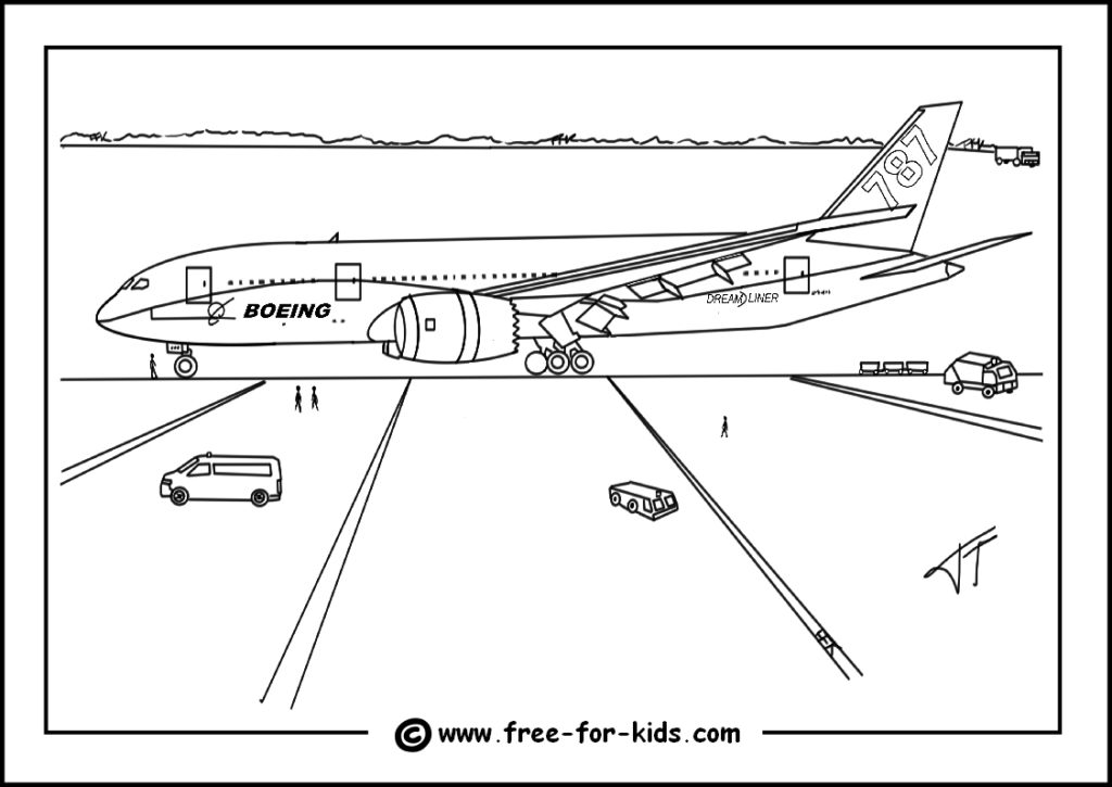 Preview of Boeing 787 Dreamliner Colouring Page