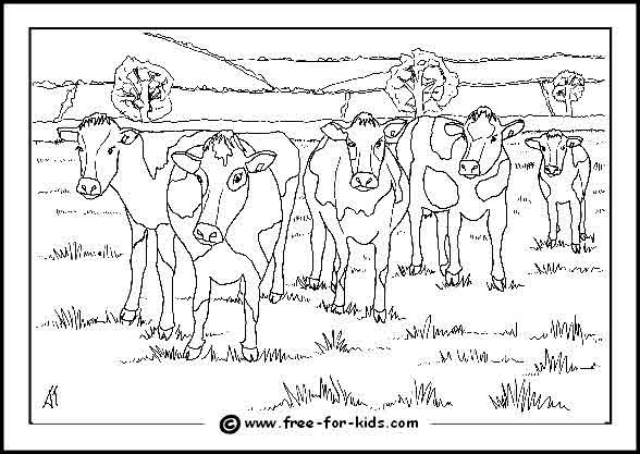 Preview of Cows in a Field Colouring Page